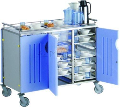 Chariot inox - Chariot avec habillages côtés + fond + 6 portes bleues