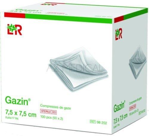 Compresses de gaze Gazin®* - 8 plis, dim 7,5 x 7,5 cm
