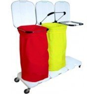 Chariot support-sac - Sac à linge uni, coloris jaune, vert, rouge ou bleu